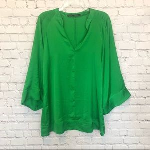 ZARA emerald green long sleeve blouse